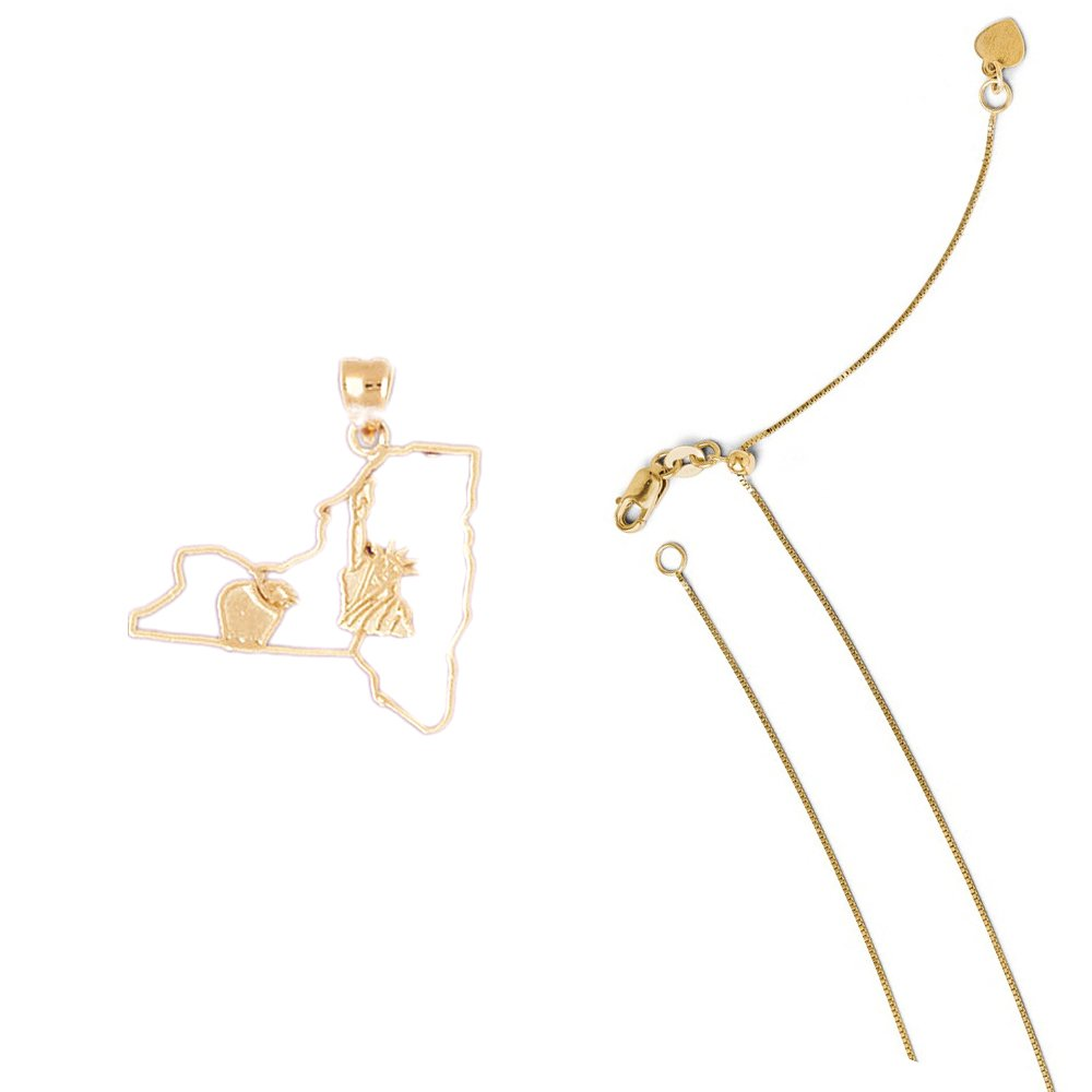 14K Yellow Gold New York Pendant on an Adjustable 14K Yellow Gold Chain Necklace