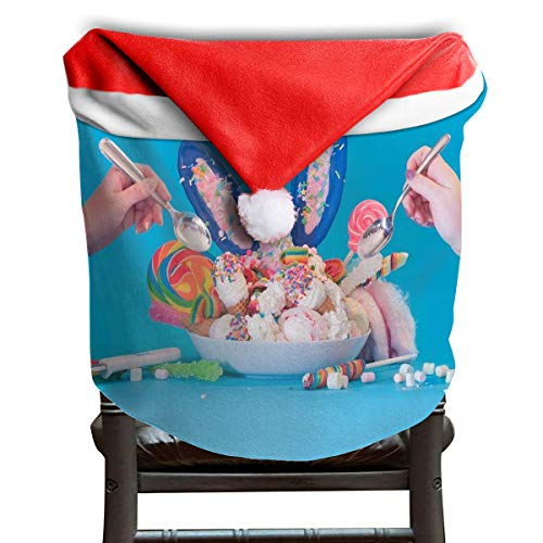 (LoveBea Santa Hat Chair Covers Unicorn-Inspired Foods to Try Chairs Back Cover Slipcovers Kitchen Sets for Holiday Decorations)