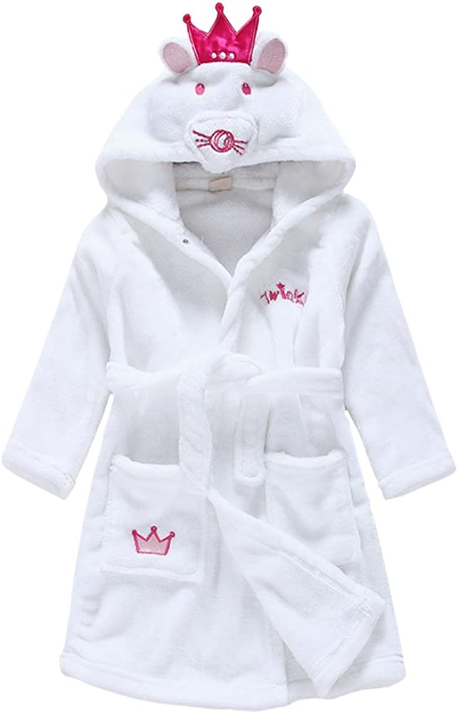 Beiersi Kids Baby Bathrobe Cotton Dressing Gown Bath Robe Cute Animal Mouse Ears Crown Hooded 0-6 Years Old