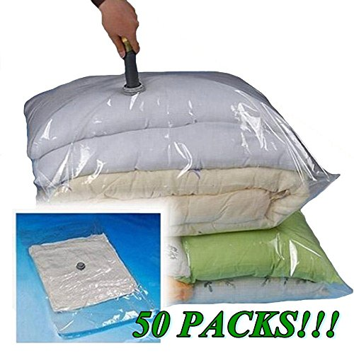 50x Large Size 28''x20'' New Improved Extra Strength Double Lock Valve System Vacuum Storage Bags / Space Saver Compressed Bag - Ups Prices Day Air Next
