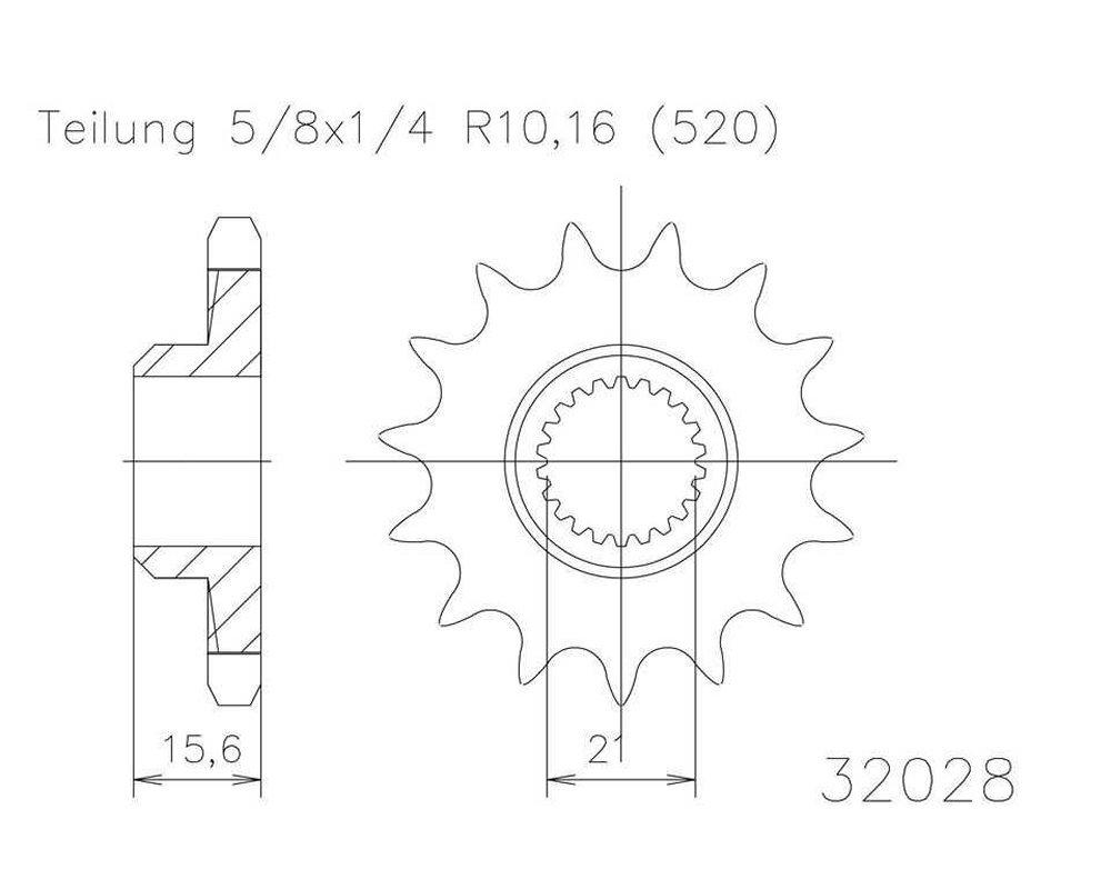 Ritzel 16 Z/ähne Stahl 520er Teilung 5//8x1//4 f/ür Yamaha XT 600 2NF,2KF 1987-1990