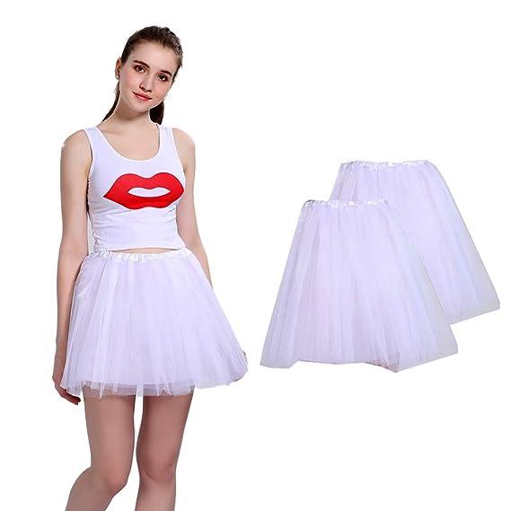 LOOHAOC Tutu Falda de Mujer Falda de Tul 50s Short Ballet 4 Capas ...