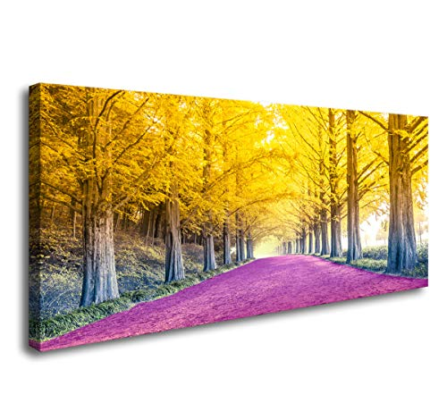 Cao Gen Decor Art-H42550 Canvas Prints Autumn Yellow Tree Pictures Painting Beautiful Pink Romantic Walkway Landscape Home Office Wall Decoration Framed Wall Decor Artwork ()