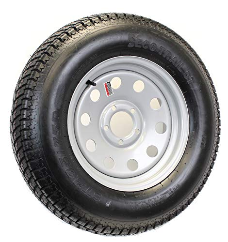 FactoryRvSurplus 14″ Silver Mod Trailer Wheel ST205/75D14 Tire Mounted (5×4.5) Bolt Circle