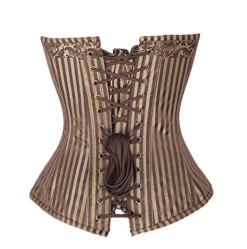 Corset, color negro, diseño de rayas, color marrón y elegante con diseño floral dorado aristocrate gótico amarillo