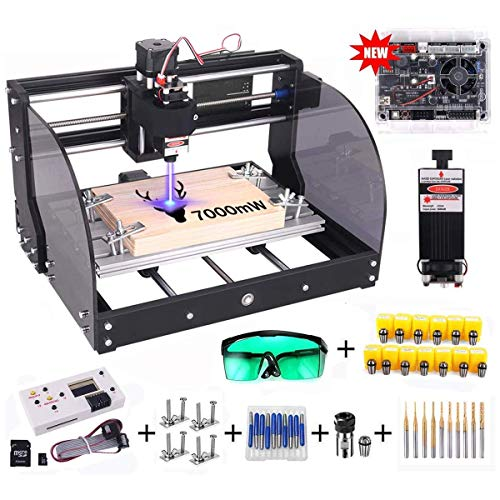 Upgrade 7000mW Laser Engraver CNC 3018 Pro-M Engraving Machine, Yofuly GRBL Control DIY Router Kit with Protected Board, 3 Axis PCB PVC Milling Machine, Working Area 300x180x45mm