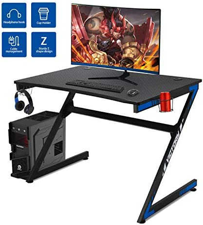 YGBH 42.2 Gaming Desk Home Office Z-Shape Gomputer Table,Gamer Workstation with Cup Holder,Headphone Hook Gamer Workstation Game Table Black
