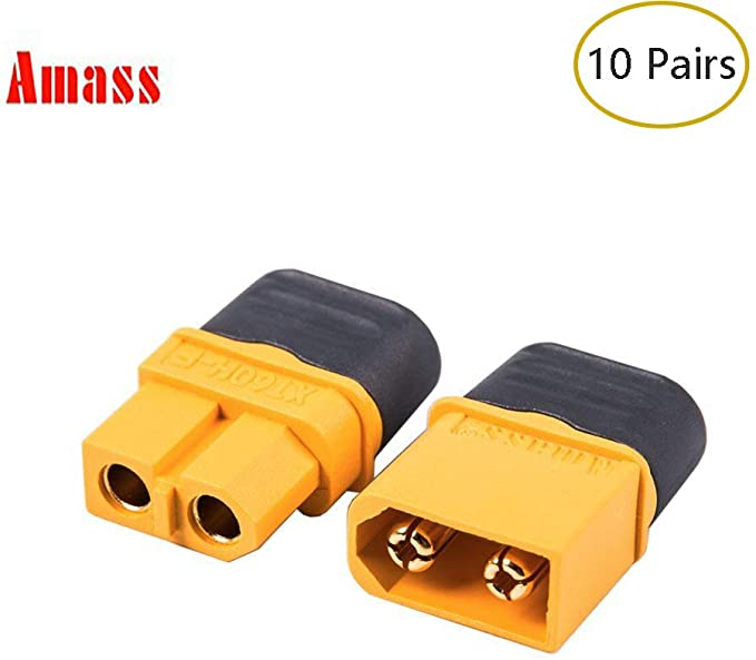 10 x Female Black XT60 Gold Plated Connector 30A Amass