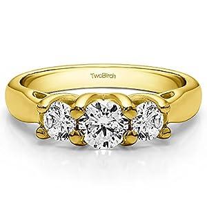10k Yellow Gold Diamond 1.72 CT Three Stone Trellis Set Wedding Ring (Size 3 To 15 1/4 Size Interval)
