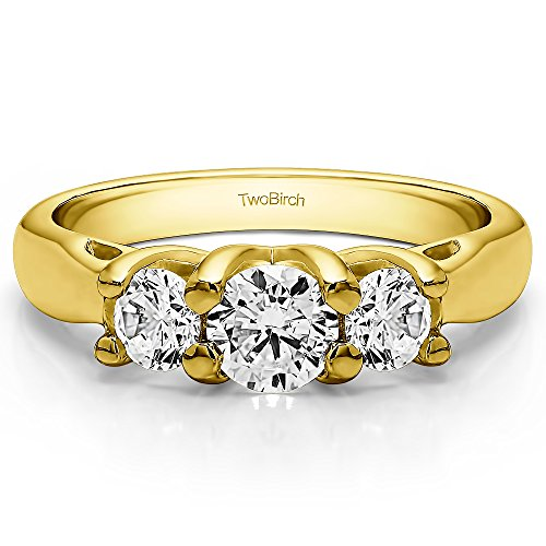 18K Yellow Gold White Sapphire 1 CT Three Stone Trellis Set Ring (Size 3 To 15 1/4 Size Interval)