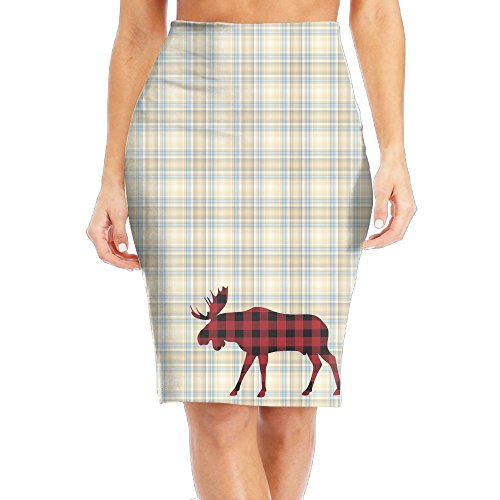 Buffalo Plaid Moose Red Black Deer Women's Long Pencil Skirt Full Printed Pattern Knee Length Dress (Moose A Moose Halloween Songs)