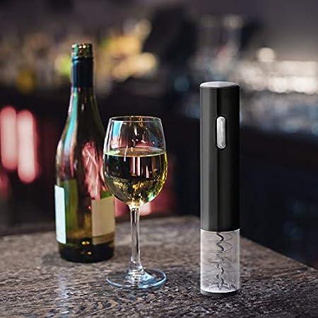 ORYX 5057055 Sacacorchos Abrebotellas Electrico A Pilas (4 AA No Incluida) con Descapsulador, Abridor, Saca Corchos Botella Vino, Plateado
