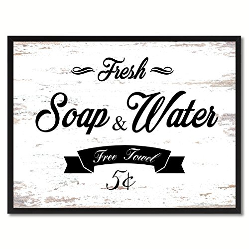 Fresh Soap & Water Vintage Sign White Canvas Print with Picture Frame Home Decor Wall Art Collection Gift Ideas (Soap Photo)