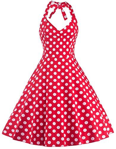 U-shot Vestidos Para Mujer Sin Mangas Lunares 1950S Vintage dama de honor Cóctel Fiesta Halter Swing Vestido Rojo