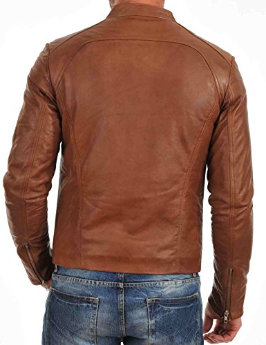 Men's 52 Tan Leather Genuine Lambskin Stylish Jacket Hq7zn4
