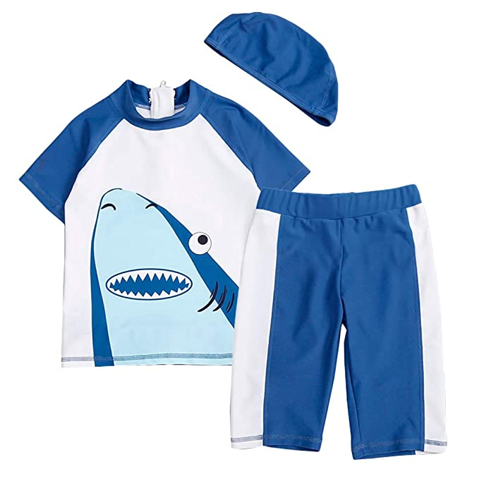 Baby Toddler Boys Two Pieces Swimsuit Set Long Sleeve Shark Bathing Suit Rash Guards Swimwear with Hat UPF 50+