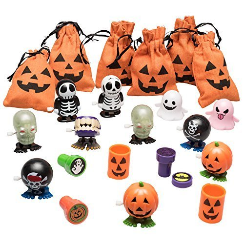 Prextex-Halloween-Jack-o-Lantern-Canvas-Surprise-Filled-Drawstring-Trick-or-Treat-Goody-Bags-Set-of-6-Bags-Filled-with-Wind-Up-Halloween-fun-toys