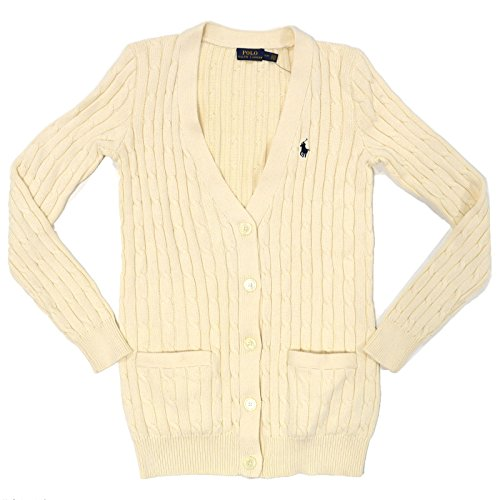 Polo Ralph Lauren Women Cable Knit Buttoned Cardigan (Small, Essex Cream)