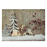 """LED Lighted Rustic Reindeer, Candles & Berries Christmas Canvas Wall Art 12"""" x 15.75"""""""