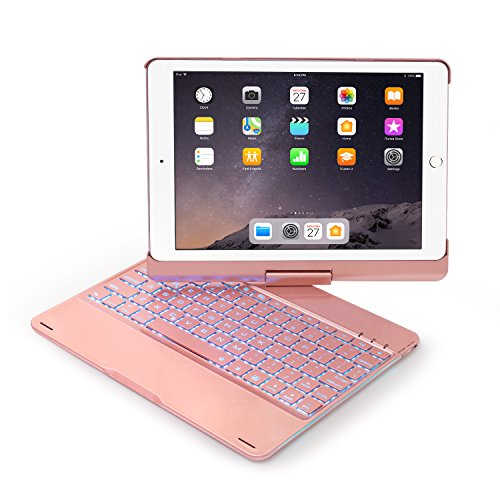 Keyboard Case Compatible with iPad 2017(5th Gen)/2018 New iPad(6th Gen)/Air/Air2/iPad Pro 9.7-360°Rotating Back Cover-Aluminum BT/Wireless Keyboard,7 Colors Backlit(Only Compatible 9.7 iPad)