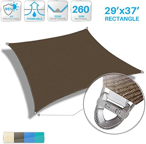 Patio Paradise Large Sun Shade Sail 29 x 37 Rectangle Heavy Duty Strengthen Durable Outdoor Canopy UV Block Fabric A-Ring Design Metal Spring Reinforcement 7 Year Warranty -Brown