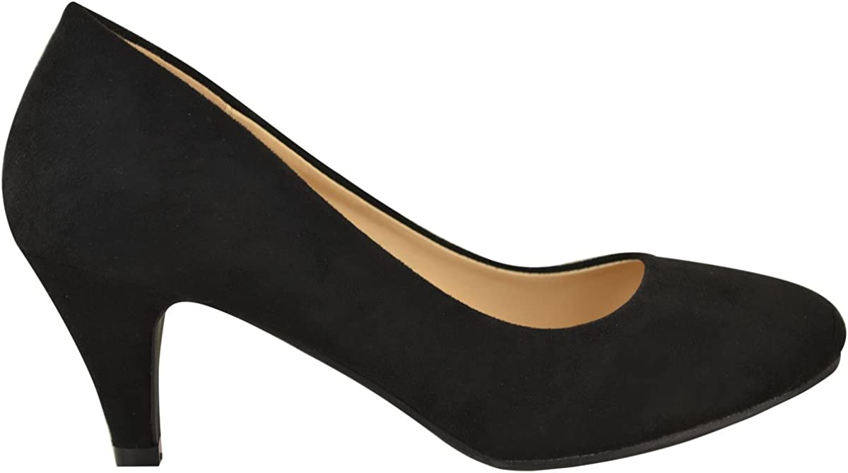 Fashion Thirsty Womens Ladies Low Heel Court Shoes Comfort Work Office Formal Wedding Size New Black Faux Leather