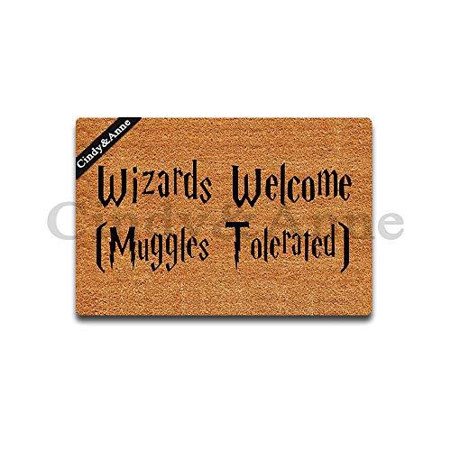 Tdou Wizards Welcome Muggles Tolerated Doormat Entrance Floor Mat Funny Doormat Door Mat Decorative Indoor Outdoor Doormat 23.6 By 15.7 Inch