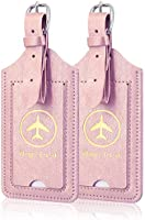 2 Pack Luggage Tags, ACdream Premium PU Leather Case Name Luggage Bag Tags for Travel Bag Suitcase Set with Name ID...