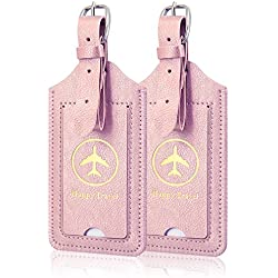 [2 Pack]Luggage Tags, ACdream Leather Case Luggage Bag Tags Travel Tags 2 Pieces Set, Rose Gold