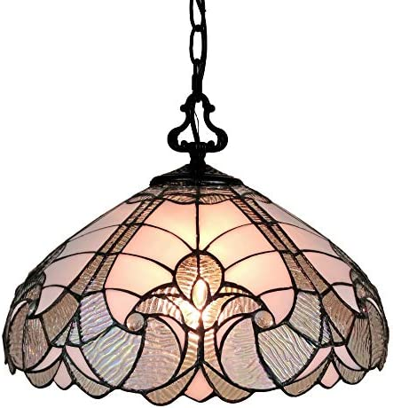 Amora Lighting Tiffany Style Hanging Pendant Lamp 16 Wide Floral Stained Glass White Grey Mahogany Antique Vintage Light Decor Restaurant Game Living Dining Room Kitchen Gift AM297HL16B