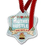 Add Your Own Custom Name, Mother Hustler Mother's Day Bold Blue Design Christmas Ornament NEONBLOND