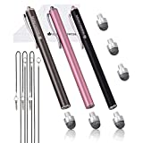 The Friendly Swede Replaceable Micro-Knit Tip Hybrid Stylus Lanyards, Cloth Replacement Tips (3 Pack) (Pink + Black + Grey)