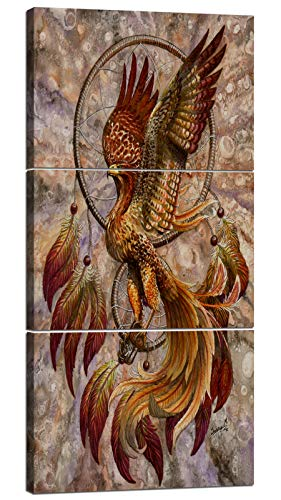 Wall Art Canvas Painting 3 Piece Modern Abstract Artwork Red Yellow Phoenix Picture Giclee Print on Canvas Bird Feather Posters Home Decor Wall Pictures for Living Room Framed Stretched 14x20 Inch x3