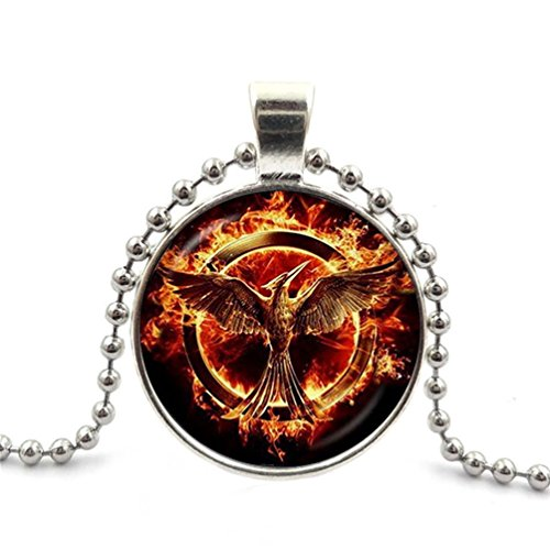(JEANCZ Glass Cabochon Necklace Ball Beads Pendant Fire Phoenix for DIY Jewelry Pendant Necklace)