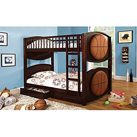 Furniture Of America Basketball Twin Over Twin Bunk Bed With Storage Drawers