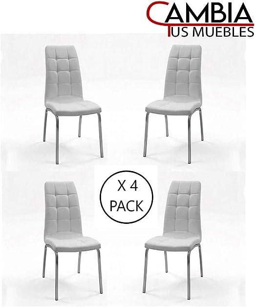 CAMBIA TUS MUEBLES - Pack de 4 sillas Comedor Naxos tapizadas en ...