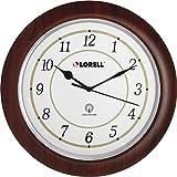 Lorell Wall Clock, Arabic Numerals, 13-1/2'', White Dial/Mahogany
