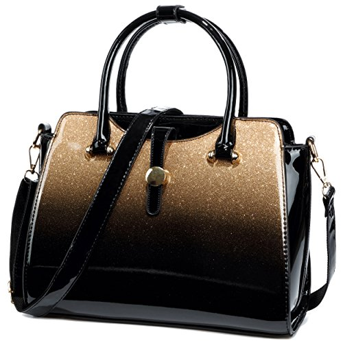 - Womens Patent Leather Satchel Handbags (Gold)