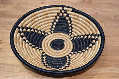 Hand Woven African Basket - Decorative Woven Bowl - Sisal & Sweetgrass Basket Handmade in Rwanda (Medium ~12'') Sand Tan, Black, - Basket Hand Woven Africa