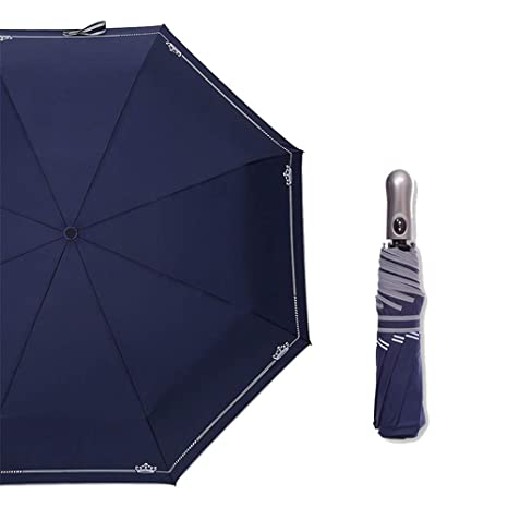 Sombrilla plegable paraguas automático de doble ciego para hombres y mujeres ,Azul