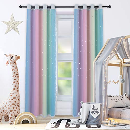 "Drewin Curtains for Girls Bedroom 84 Inches Length Stars Cut Out Colorful Curtain Kids Room Darkening Rainbow Ombre Stripe Double Layer Window Drapes Tulle Nursery Decor, 2 Panels 52""Wx84""L"