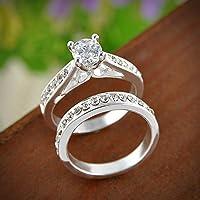2Pcs Women Gemstone White Gold Plated Engagement Ring Set Size 6-9 Rings Jewelry sakcharn EW (7)