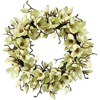 jane seymour botanicals tulip magnolia wreath 24inch light green