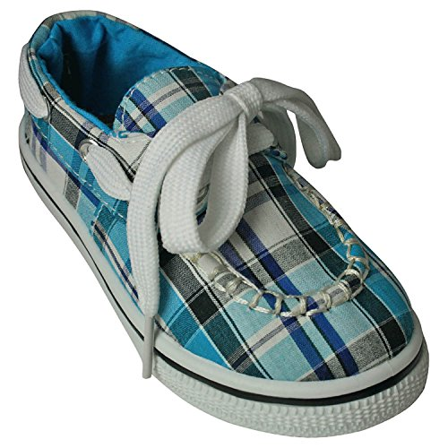 DAWGS Kaymann Boat Shoe , Turquoise Plaid, 3 M US Little Kid