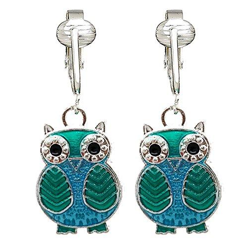 Sparkle Fun Owl Clip On Earrings for Girls, Women-Glitter Sparkling Cute Birthday Gift Non-pierced Ear