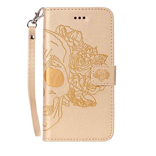 Mxnet Para iPhone 7 Crazy Horse Textura Cráneo de impresión Horizontal Flip caja de cuero con titular y ranuras para tarjetas y billetera y cordón Ultra Delgado ( Color : Pink ) Gold