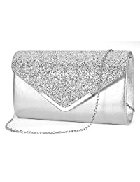 ZIUMUDY Women's Sparkle Evening Bags Envelope Clutches Shoulder Chain Handbag Bridal Wedding Purse