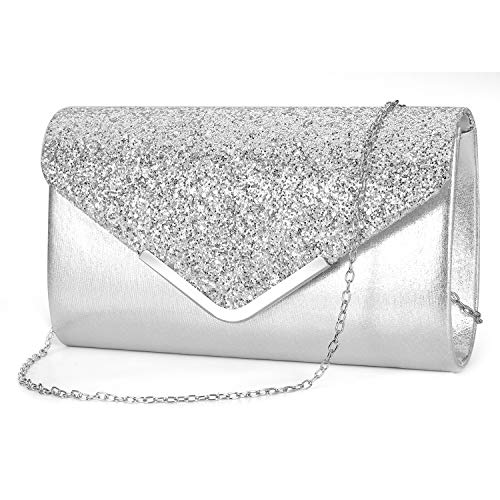 - ZIUMUDY Women's Sparkle Evening Bags Envelope Clutches Shoulder Chain Handbag Bridal Wedding Purse (Silver)