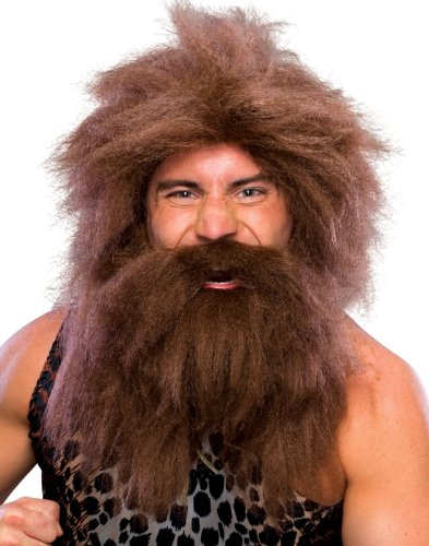 Club Halloween Costumes For Guys (Rubie's Characters Caveman Beard And Set Wig, Brown, One)
