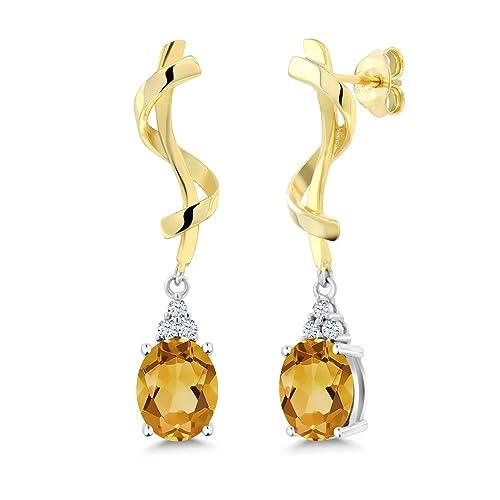 Gem Stone King Sterling Silver Yellow Citrine Earrings 3.22 cttw Gemstone Birthstone Oval 9X7MM
